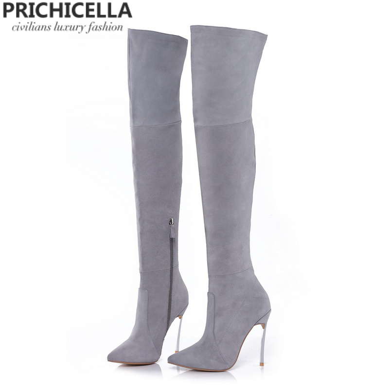 Shoes Women's Shoes Purposeful Prichicella 8cm 10cm Grey Genuine Leather Over The Knee Boots Thigh High Booties Size34-42 Fast Color