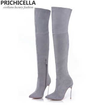 PRICHICELLA 8cm 10cm grey genuine leather over the knee boots thigh high booties size34-42 - DISCOUNT ITEM  0% OFF All Category