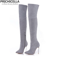 PRICHICELLA 8cm 10cm grey genuine leather over the knee boots thigh high booties size34 42