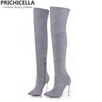 Prichicella 8 см 10 см серый натуральная кожа сапоги выше колена высокие ботинки size34 42