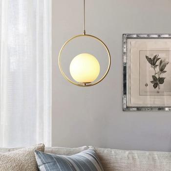 Американский медный Ресторан светодиодный подвесной светильник Скандинавский современный спальня круглые стеклянные шар для домашнего д...