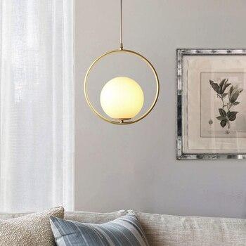 Amerika Tembaga Restoran LED Pendant Light Nordic Kamar Tidur Modern Circular Glass Bola Dekorasi Rumah LED Lampu Gantung Perlengkapan