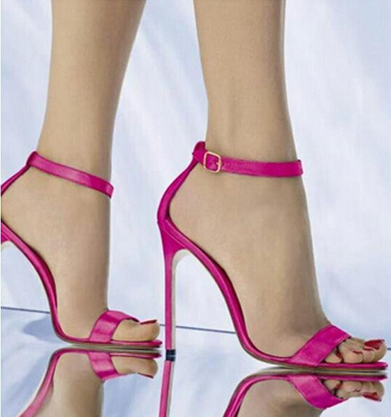 ФОТО New Sandal Hot selling Dress Women Shoes Cheap Price Fashion Summer Sandal High Heel Buckle Cut Out Rose Red Wedding Shoes Ankle