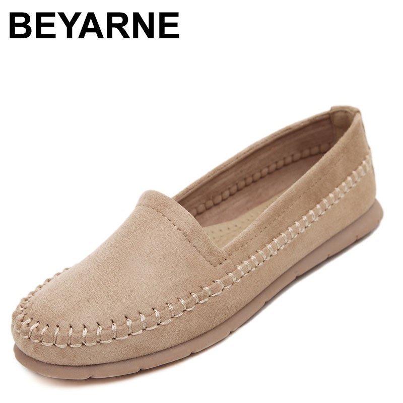 BEYARNE Nubuck Leather Women Flats Slip On Casual Flat Shoes Woman Soft Women Mocassin Boat Shoes Footwear Sapato Feminino cresfimix zapatos women cute flat shoes lady spring and summer pu leather flats female casual soft comfortable slip on shoes