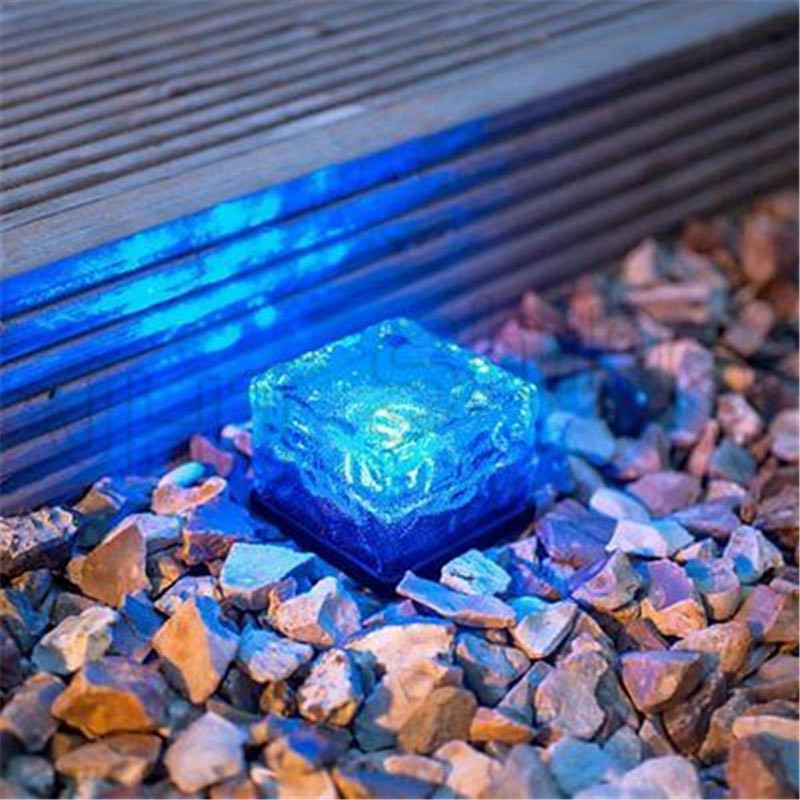 Waterproof Solar Path Ice Cube Rocks LED Frosted Glass Brick Paver Garden In-groud Buried Light Ingroud for Outdoor Path Road
