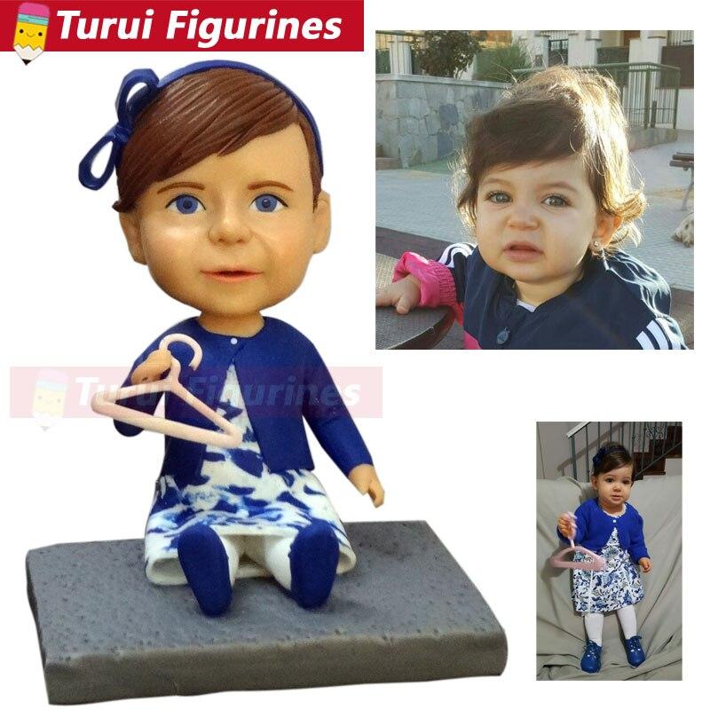 Faire un buste à partir de photos petite fille jouant figurine personnalisée bobblehead mode et passe-temps personnalisé bobbleheads poupées mini statuette