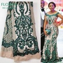 Зеленое нигерийское кружево с блестками ткани высокого качества Тюль Африканские кружева ткань свадебное платье Французский кружевной материал 5 ярдов/партия