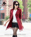 WomensDate 2016 New Fashion Autumn Winter Casual Wine Red Long-Sleeve Lace Waistband Slim Trench Coat Women's Trench Coat