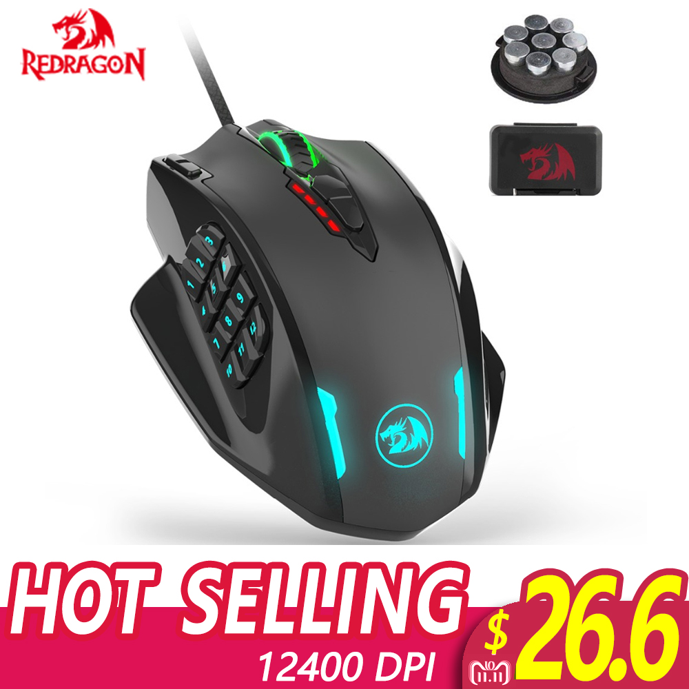 Redragon M908 IMPACT RGB LED MMO Mouse Laser Wired Gaming Mouse with 12,400DPI High Precision 18 Programmable Mouse Buttons цена