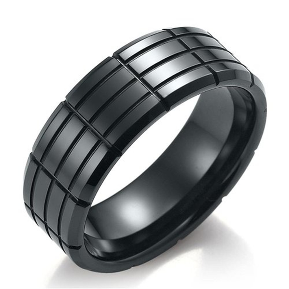 Men 8mm Black Tungsten Carbide Ring Polished Bevelfort Fit Cross  Grooves Wedding Band Kr2096(