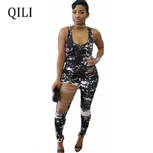 QILI New Summer Women Sleeveless Hole Jumpsuits Rompers Black White Printed Tank U Neck Jumpsuit Skinny Long Pant