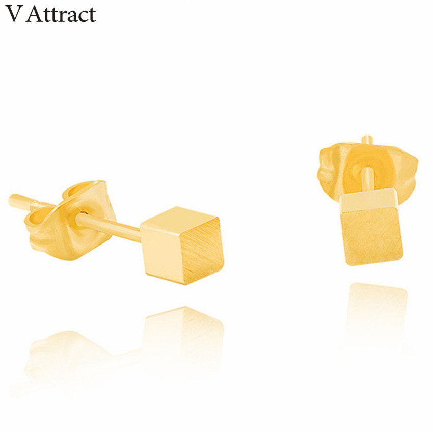 V Attract Rose Gold Tiny Cube Stud Earrings Geometry Oorbellen Voor Vrouwen Stainless Steel Pendientes for Women Men Jewelry image