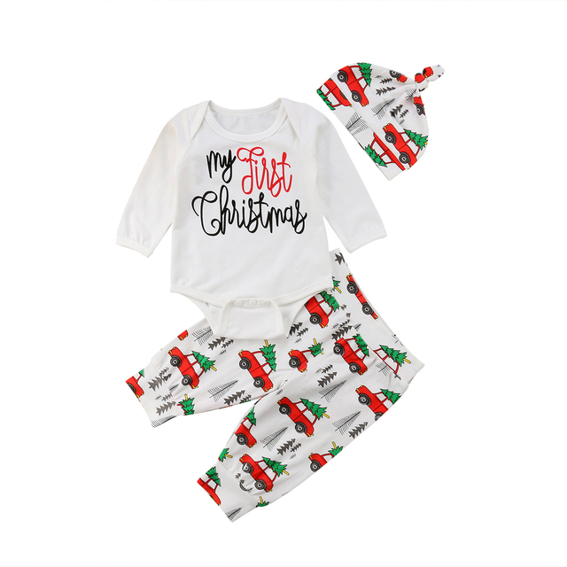 5cf121940b4d My First Christmas Newborn Infant Baby Boy Girl Cotton Romper Tops+ ...
