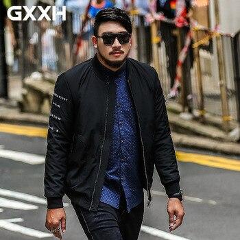 tide brand Large size men's cotton autumn and winter plus fat plus size men's Solid color Collar jacket Size 2XL-6XL 7XL