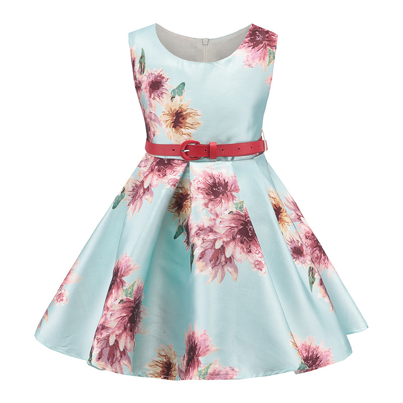 Flower Print Dress of Girls Gown tutu Princess Dress 2017 Summer Wedding Party Dresses Children Girl Clothes with belt girls dresses summer 2016 performance clothing girls princess dress children dress flower wedding dress girls clothes