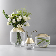 Modern Gilded glass vase transparent terrarium glass containers Tabletop flower vases centerpieces for weddings home decoration europe multicolor glass vase gray stripe transparent glass vases tabletop flower pot hydroponics containers home decoration
