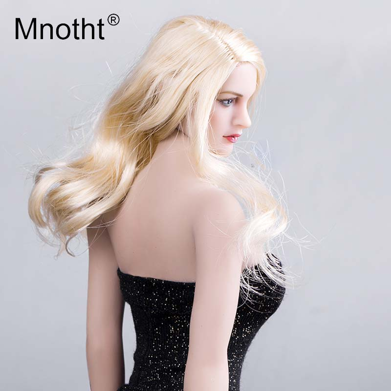Mnotht Toys 1:6 Scale Euramerican Beauty Female Head Sculpt Model KT007 With Hair Head Carving Toy for 12in Action Figure m3 1 6 scale asian female head sculpt with black long hair models toys for 12 female action figure