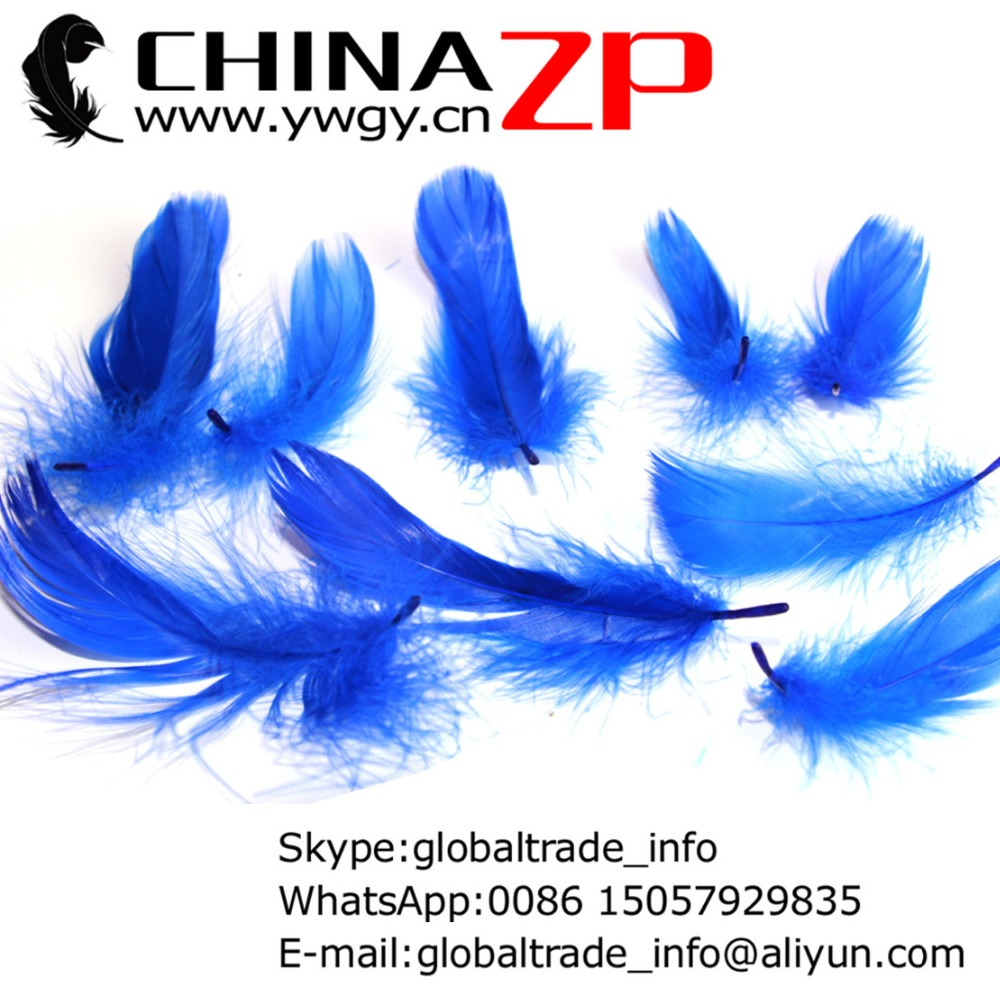 Gold Manufacturer CHINAZP Factory www.ywgy.cn 100pcs/lot Good Quality Dyed Royal Blue DIY Goose Coquille Loose Feathers