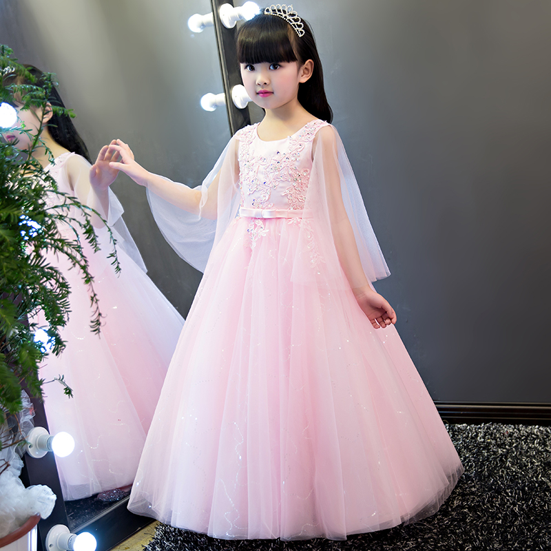 2017 New Arrival Lace Summer Embroideried Girl Lace Pink Dress Top grade 4-13yrs baby princess Dresses for girls wedding party 2018 summer new girls clothing lace mesh splicing baby dresses for girl party princess dress fashion petal kids girls dresses