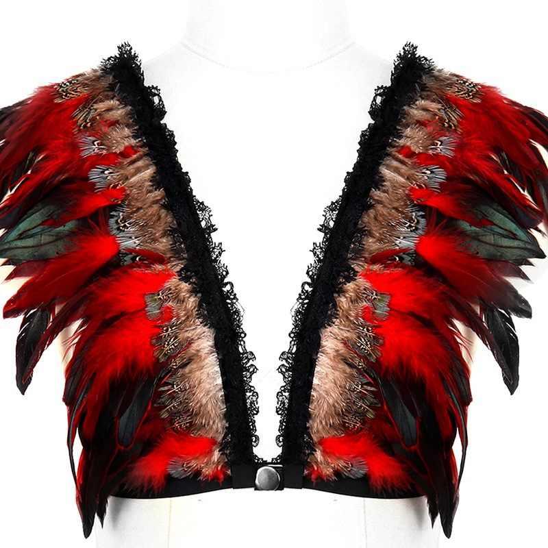 Hot Red Feather Epaulette Bondage Body Harness Adjust Stappy Cage Bra Shoulder Angel Wings Lingerie Gothic BurningMan Dance Rave