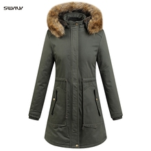 SWYIVY Long Hooded Coat Winter Cotton Coat Women Slim Snow Outwear For Woman Jacket Thick Cotton Padded Warm Cotton Parkas Women стоимость