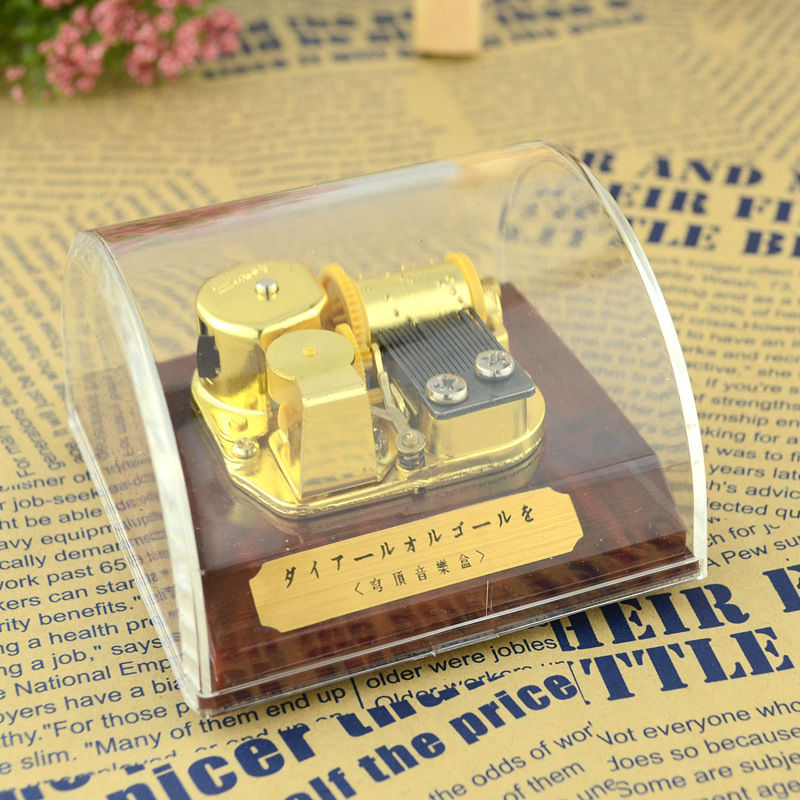 New Transparent Gold-plated Dome music box mini acrylic music box birthday gift