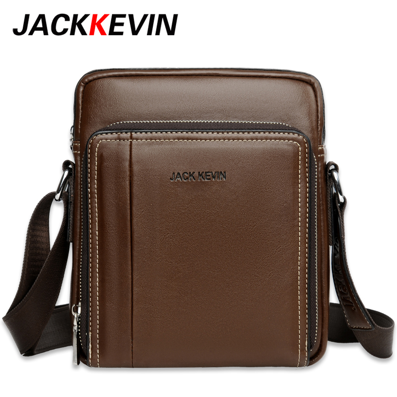 Miglior acquisto ) }}JackKevin Famous Brand Leather Men Bag Casual Business Leather Mens Messenger Bag Vintage