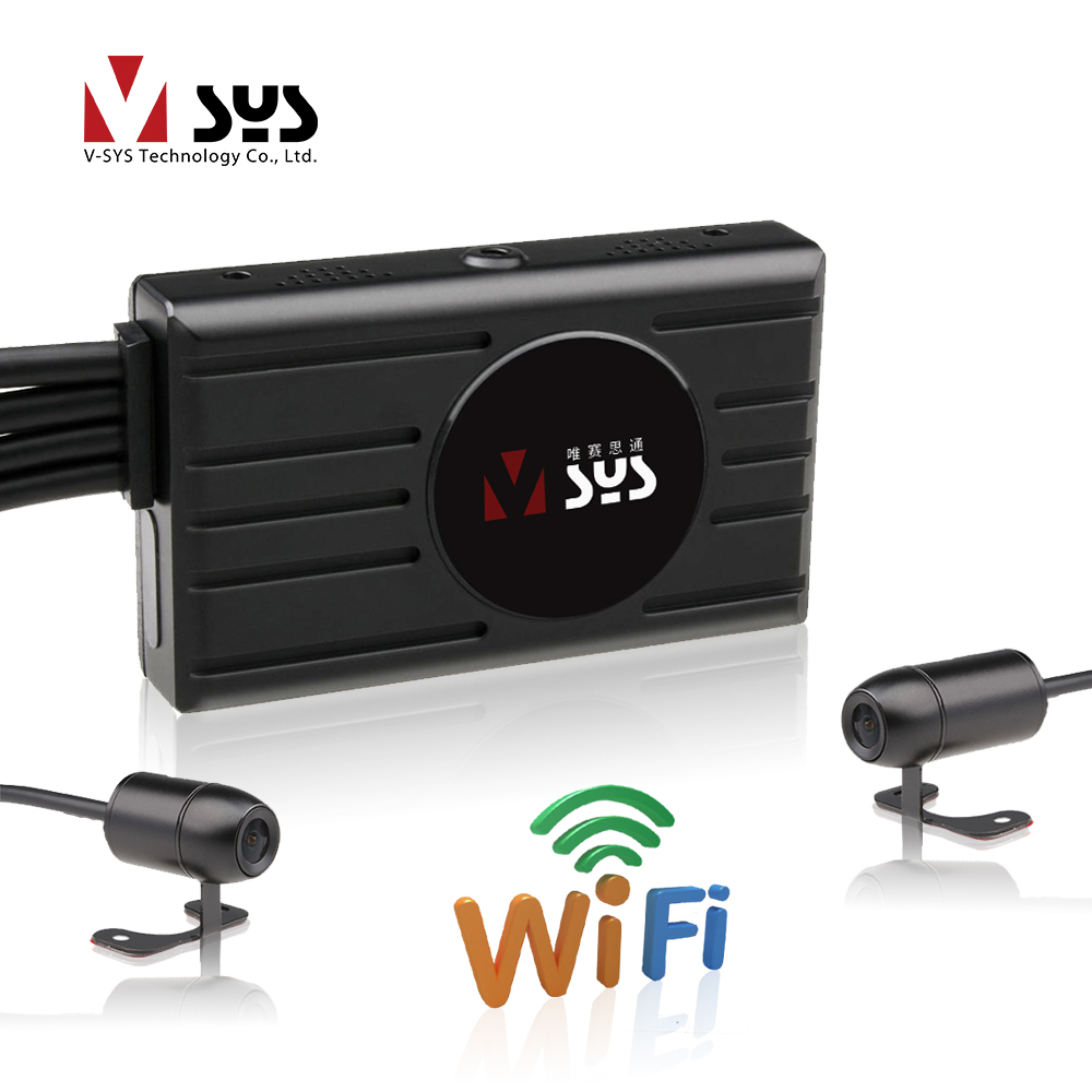 SYS VSYS M2F 3 0 LCD Motorcycle DVR WiFi FHD Dual 1080P Front Rear View Waterproof