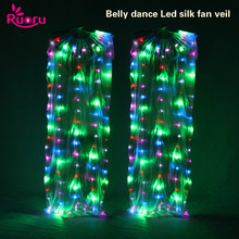 Ruoru 2 pieces = 1 pair LED Belly Dance Silk Fan Veil 100% Veils Stage Performance Props Rainbow White Led