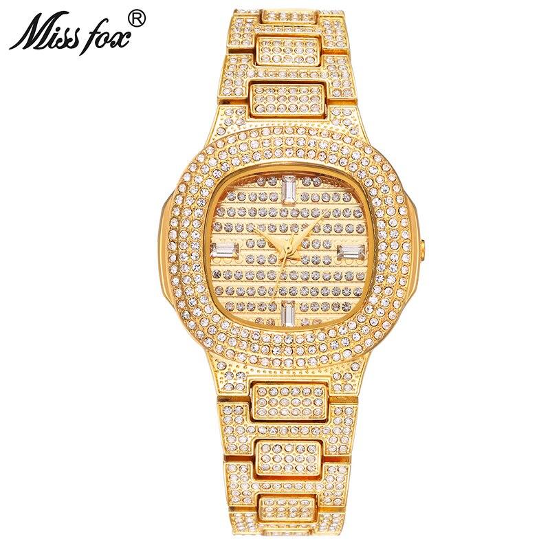 Missfox наручные часы для женщин золотой браслет Роскошные Брендовые женские часы 2018 водостойкие большой моды Patek кварцевые