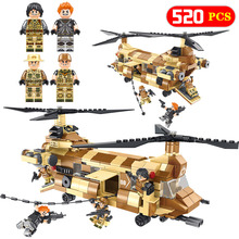 DIY Military Series Blocks Kompatibla Legoingly CH-47 Helikopter Chinook kontra roterande rotorer Pedagogiska leksaker Barn Presenter