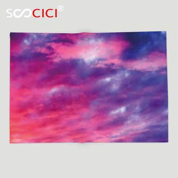 Custom Soft Fleece Throw Blanket Sky Decor Magical Cloudy Sunset Idyllic Shades of Pink on Air Gradient Fading Moody Picture