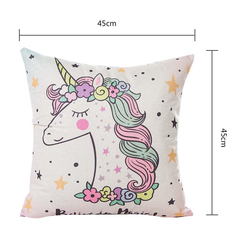 Image 2 - 45x45CM Cartoon Unicorn Pillow Case Childlike Rainbow Cute Print Cushion Cover Decorative Throw Pillowcase Car Sofa Home Decor-in Cushion Cover from Home & Garden