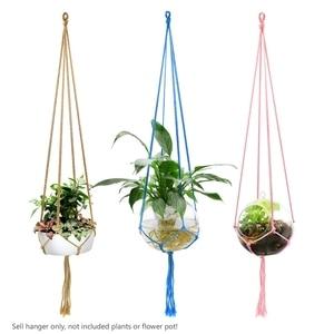 Image 5 - WITUSE צבעוני כותנה חבל סיר מחזיק תליית סל פשוט פרח קולב קרמיקה עציץ תליית כלי מרפסת סיר חדר דקור