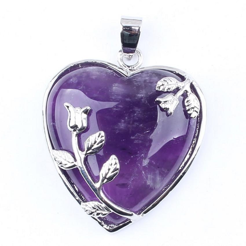 1 piezas de amatista cristal piedras preciosas corazón hoja cuentas - Bisutería - foto 1
