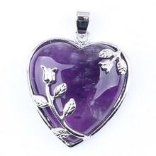 1 Pcs Amethyst Kristal Gemstone Heart Leaf Bead Focal Pendant Perhiasan