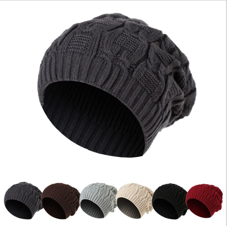 RX7705 Fashion Winter warm hats Men and Women Embroidery Knitted Hat Autumn Black Solid Curled Beanies Skullies for lady