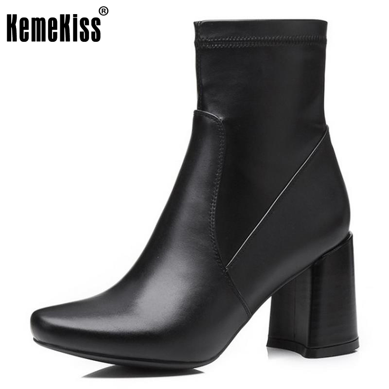 KemeKiss Size 34-39 Ladies Real Leather Thick High Heels Mid Calf Boots Women Round Toe Zipper Shoes Women Autumn Elastic Botas czrbt geniune cow patent leather front zipper women high heels 8cm boots ladies brand style mid calf shoes women 100% handmade