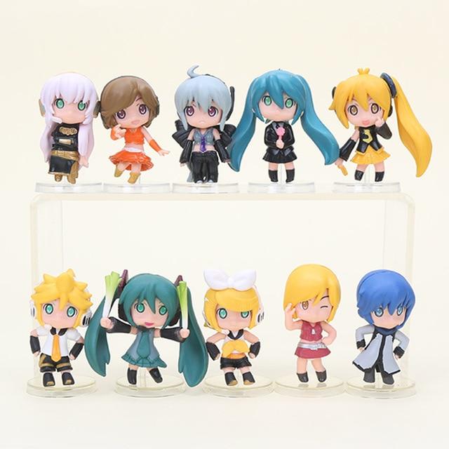 5pcs Set Hatsune Miku Toy Figure PVC Nendoroid Petit Vocaloid Figures 6cm