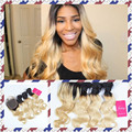 Ombre Peruvian Virgin Hair Body Wave 3 Pcs Lot Human Hair Extensions Bundles With Lace Closure two tone 1B/613 Blonde Hair Weave
