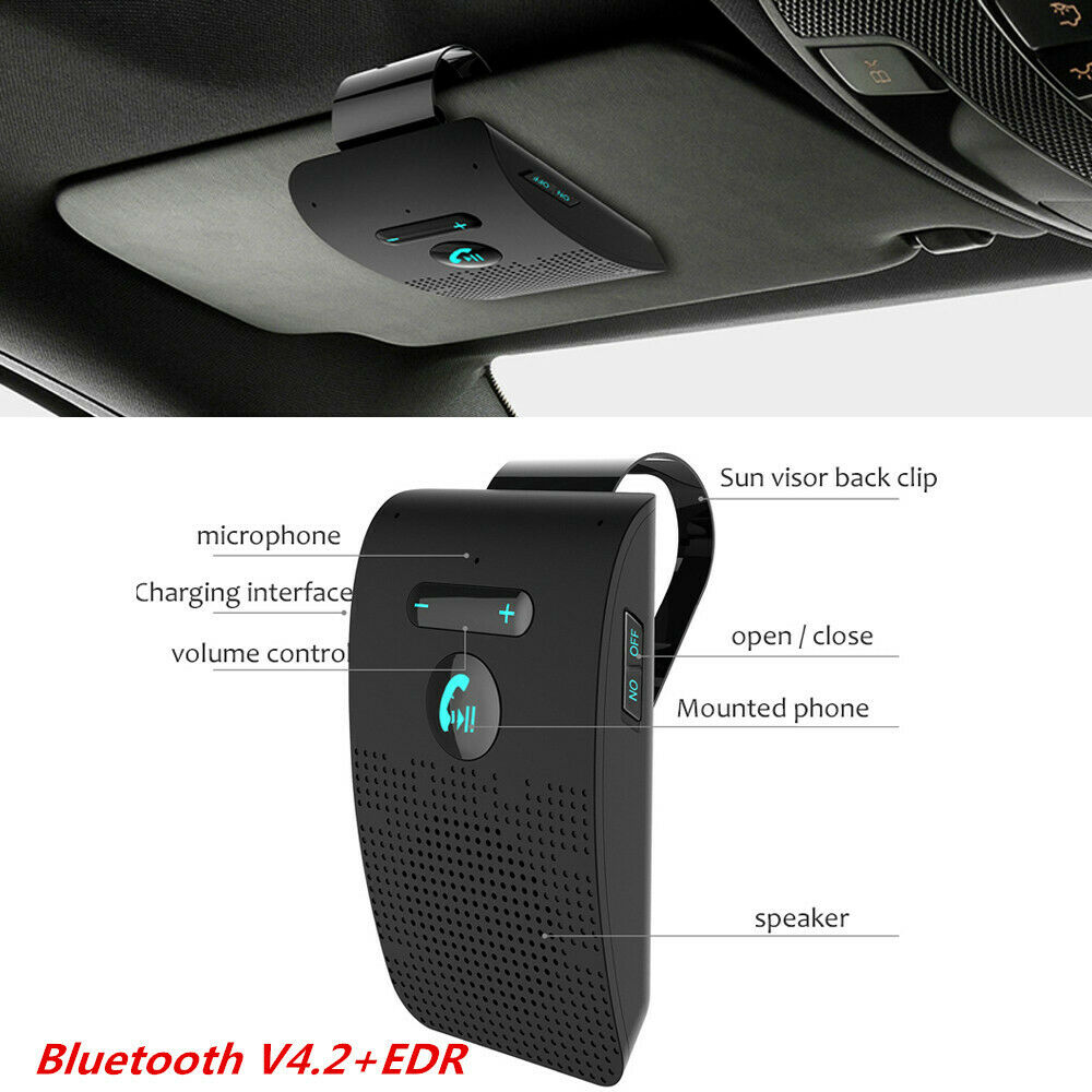 Hands free for Car Bluetooth Car Kit 4 2 Sun Visor Clip Sunshade Sunshade Dual Microphone Car Bluetooth Handsfree Kit Music Play in Bluetooth Car Kit from Automobiles Motorcycles