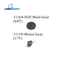 HSP RACING RC CAR ACCESSORIES 11184 DIFF. STEEL MAIN GEAR 64T AND 11119 MOTOR GEAR 11119 FOR 1/10 ELECTRIC CAR 94111 94107 2pcs metal diff main