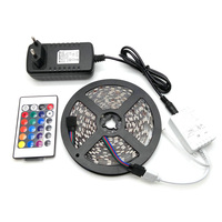 LED Strip Light 5050 RGB 5M 300LED Flexible Strip Light Set + 24Keys Remote Controller + 12V 3A Power Supply Adapter