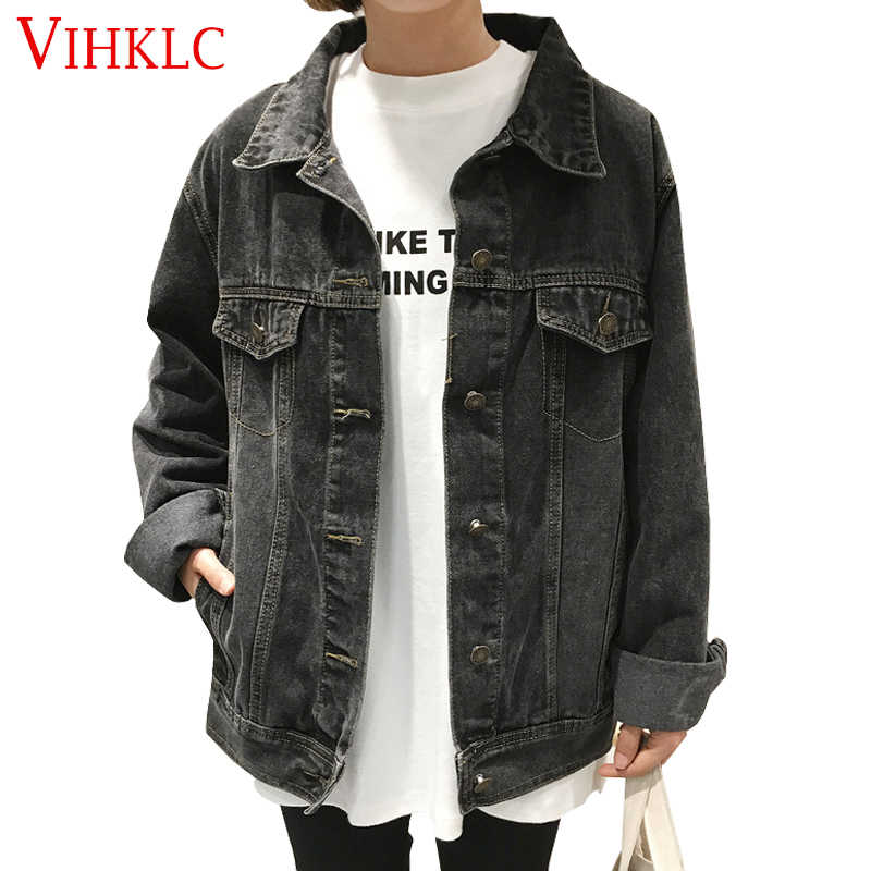 Denim Jacket Women 2017 Vintage Fashion Jeans Overcoat Ladies Jacket Tops Turn Down Collar Slim Black Basic Jacket Clothing A640