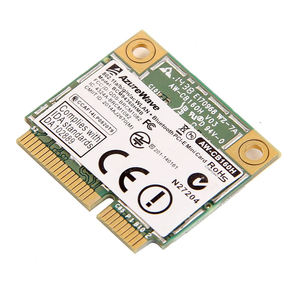 AzureWave AW-CB160H Broadcom BCM94360HMB 802.11AC 1300 Mbps sans fil WIFI WLAN Bluetooth 4.0 Mini carte PCI-E + 20 cm MHF4 antennes - 3