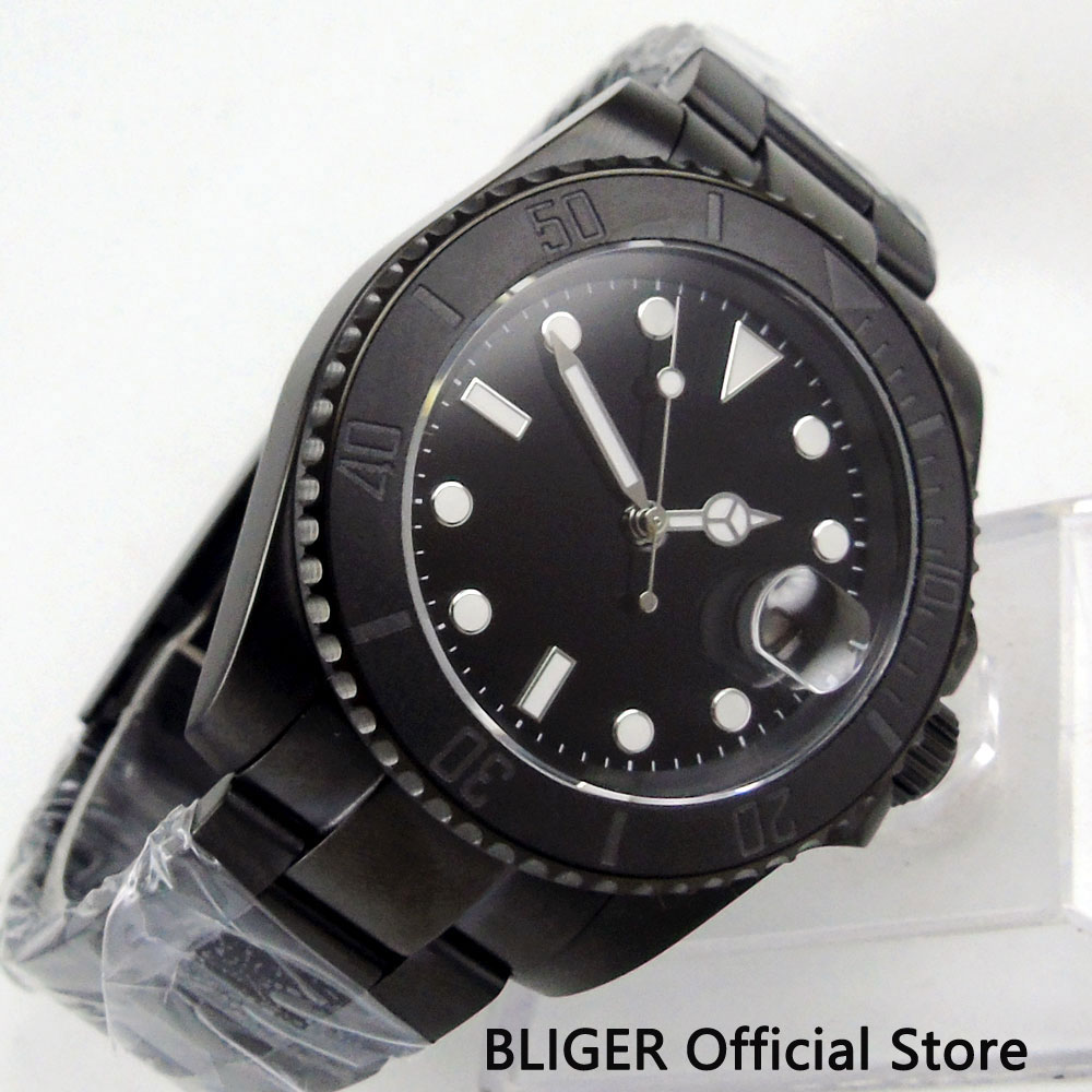 BLIGER 40mm Sterile Dial PVD Case Mechanical Watch Sapphire Glass MIYOTA Automatic Movement Men s Watch