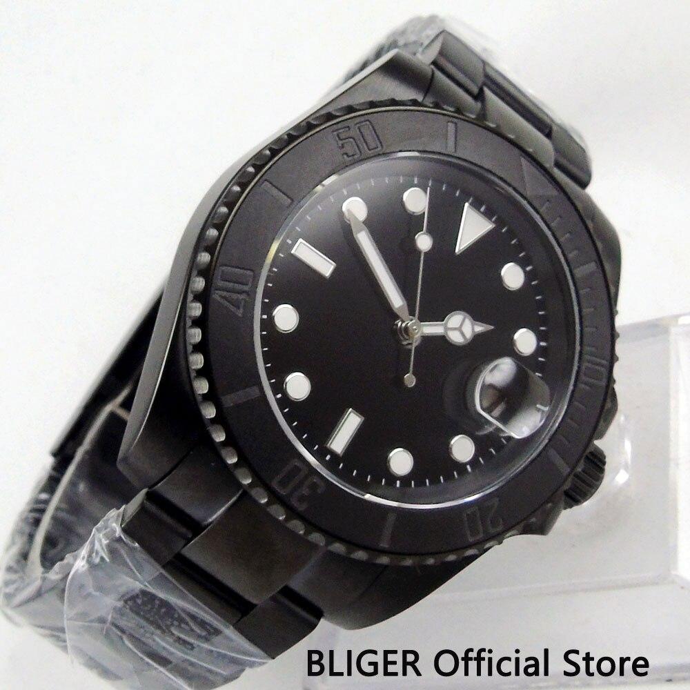 BLIGER 40mm estéril Dial PVD caja reloj mecánico vidrio zafiro MIYOTA movimiento automático reloj para hombre-in Relojes mecánicos from Relojes de pulsera    1