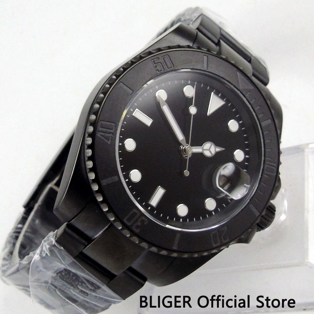 BLIGER 40mm sterylna tarcza PVD Case zegarek mechaniczny Sapphire szkło MIYOTA mechanizm automatyczny zegarek męski w Zegarki mechaniczne od Zegarki na  Grupa 1