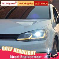 2Pcs LED Scheinwerfer Für VW golf 7 2013-2017 led auto lichter Engel augen xenon HID KIT Nebel lichter LED Tagfahrlicht
