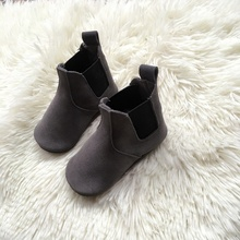 autumn fashion grey suede boots for children genuine leather shoes baby boys Chelsea Boots girls
